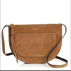 Authentic Tory burch pipper saddle suede crossbody